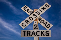 Railroad Crossing Sign (Mabry Campbell) Tags: railroad blue usa sign warning photography countryside us photo texas crossing unitedstates streetsign unitedstatesofamerica tracks 55mm photograph roadsign 100 f80 february ef2470mmf28lusm 2012 railroadcrossing texashillcountry sec mabrycampbell february92012 201202091283