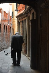 Walking through to work in Venice (Marco A Rodriguez) Tags: old venice italy man work tunnel