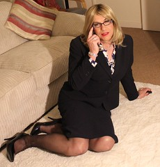Clear Vision (bethany_labelle) Tags: skirt blouse tgirl suit bow transvestite secretary satin pussey
