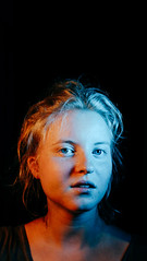 Too much (nicoschrenk) Tags: portrait girl face phone framing composition strange color contrast people lighting sidelight fujix100t