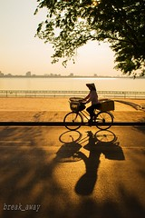 The street vendor & sunset at West lake / Gnh hng rong (break_away) EXPLORED 15 August, 2016 (V_Quang) Tags: vendor hanoi vietnam westlake sun sunset direct streetvendor yellow bicycle transportation tree lake water street road ride afternoon gnhhngrong hty honghn ng h xep nn vng hat