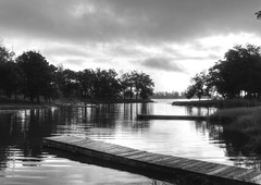 Morning in a Black and White World (clarkcg photography) Tags: morning sunrise dawn water dock bay inlet calm trees clouds woodendock blackwhitethursday 7dwf