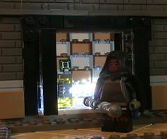 LoLH - Suiting Up in the Castle (jgg3210) Tags: loh lego leagueofheroes superhero comic comicbook moc minifigure kelvin knite nightknite cabinet glass backlit castle
