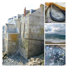 ochre and blue (Carolyn Saxby) Tags: porthmeor beach studio paint spatter stormy skies blue grey ochre gold yellow stives building house cornwall mussel shell silver fabric cotton thread textiles carolynsaxby mosaic grid