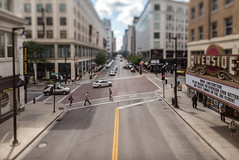 Crossing the Avenue in the Itty-Bitty-City (Sharky.pics) Tags: urban city wisconsin tiltshift july cityscape 2016 miniature milwaukee downtown