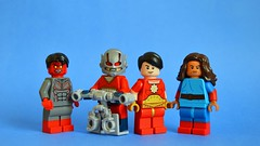 Blues and Reds (th_squirrel) Tags: lego dc comics minifig minifigure minifigs minifigures beast boy new 52 orion gods dick grayson flying all star superman samson