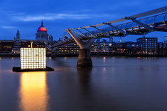 Fire Cube... (JH Images.co.uk) Tags: floating dreams by ikjoong kang london night stpauls bridge millenniumbridge riverthames lights blue hour art architecture hdr dri cube illumination river le fire 350 great cathedral