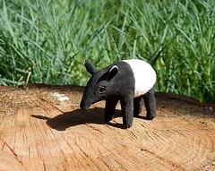 Tapir figurine of clay (ViaLatteaArt) Tags: tapirfigurine animalfigurine miniatureanimal tapirsculpture tapirtotem collectiblefigurine smallminiature tapirhandmade tapir spiritanimals blackandwhite giftideas miniaturetapir