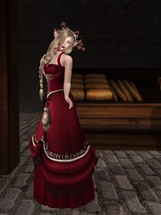 In the market, I try flirting with the bakers boy, but it makes my whole dress turn red, because I dont know what to say. He smiles at me, though. Is it because of my bare arms? (gwen.enchanted) Tags: maitreya catwa logo emotions wishbox lumae soul cureless deathrowdesigns