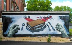 Viroqua, Wisconsin Mural (Cragin Spring) Tags: mural fork knife plate hands brokenglass book forgottenworks building wisconsin wi midwest unitedstates usa unitedstatesofamerica viroquawisconsin viroquawi viroqua