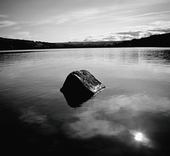 FEWSTON RESERVOIR (rockindave1) Tags: fewstonreservoir blackwhite water sky clouds reflection stone rock canoneos5dmark2 adobecs5 adobelightroom4