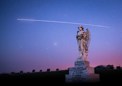 The Angel and the Spaceman : Redux (ajecaldwell11) Tags: night sunrise milkyway ankh astrophotography dawn spacestation grave cemetery light southerncross iss newzealand pakipaki hawkesbay skylight stars stoneangel sky internationalspacestation headstone caldwell clouds angel