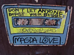 Magda Love, New York, NY (Robby Virus) Tags: newyorkcity nyc newyork city bigapple manhattan sticker art slap magda love dont let anyone burst your bubble cassette tape