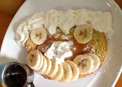 French toast with bananas and whipped cream (Ruth and Dave) Tags: shinecafe blanshard victoria downtown cafe restaurant breakfast frenchtoast banana whippedcream maplesyrup smiley face smile