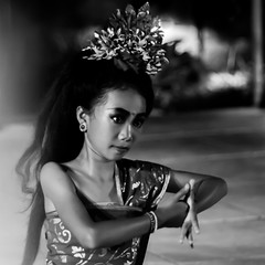 Dance (Tom Farrow) Tags: dance hands full moon blessing religious religion beautiful girl woman party headdress crown flower sari thumb portrait blackandwhite bw