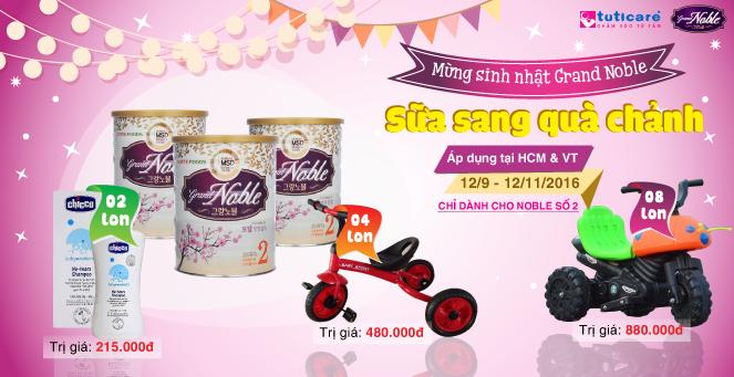 [TutiCare HCM & VT] Mừng sinh Nhật Grand Noble- Sữa sang, quà chảnh !!!