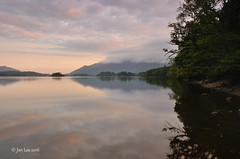 Lakeside Whispers (jeanette_lea) Tags: derwentwater the lake district cumbria sunrise sky clouds colours reflections trees water