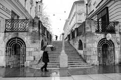 (Tom Plevnik) Tags: bnw blackandwhite candid city flickr human ljubljana monochrome nikon outdoor public people places photography rain street streetphotography urban arch architecture road