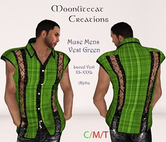 Muse Mens Vest Green Ad Pic (moonlitecat) Tags: hunt your inner slut moonlitecat creation mesh slink belleze maitreya fimesh rigged high heel collar gacha spikes leather punk skirt haltertop halter top laced vest mens men women womens moon moonlite hudded texture change