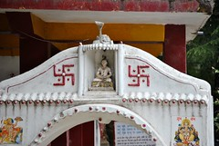 Swastika on Hindu Shrine, Dharamsala, India (CultureWise) Tags: swastika india shrine symbols