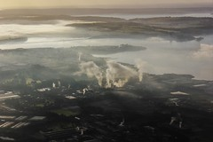 Little Island Industry (trebography) Tags: morning fog ireland cork flight flying canon 550d industrial landscape clouds water aerial photography above