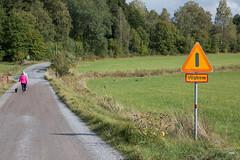Vgbom - Street barrier (magnusbjorns) Tags: stockholm sweden vgbom street streetsigns sign warningsign road green field trees people walking yellow