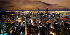 Big City Nights (benchorizo) Tags: city longexposure urban chicago skyline buildings nikon downtown cityscape skyscrapers nightshot searstower trumptower downtownchicago chicagoskyline chicagoist banias citynights johnhancockobservatory d7000 willistower benchorizo romeobanias