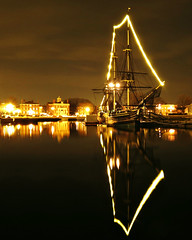 Friendship of Salem Reflected (StirlingCreative.com) Tags: ocean christmas light black reflection water night reflections dark lights boat december friendship symmetry reflected nighttime salem tallship salemmassachusetts 121212 salemma pickeringwharf derbywharf shetlandpark