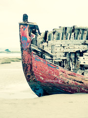 Fading Beauty (ShrubMonkey (Julian Heritage)) Tags: wood red color colour detail abandoned beach river boat sand ship decay bow beached nautical hull hulk discarded wreck desolate derelict deserted wrecked dilapidated taw clinker crowpoint