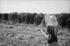 Marta-39 (Don't Just Snap!) Tags: summer blackandwhite bw sun color colour film girl hat analog 50mm blackwhite afternoon minolta kodak poppy poppies fields 100 analogue dynax hay agfa apx ektar c41