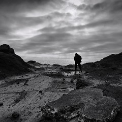 STRANGER IN A STRANGE LAND(explore) (kenny barker) Tags: bw monochrome self landscape lumix scotland elie scottishlandscape coastuk landscapeuk panasonicg1 welcomeuk kennybarker