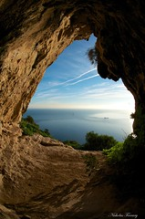 Shine Through (Nicholas Ferrary) Tags: blue sunset sky sun sunlight nature rock sunrise nikon wildlife caves cave gibraltar caveformations twincaves medsteps d300s nikond300s nicholasferrary