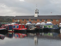 Stourport on Severn Basin (sueeverettuk) Tags: uk windows red england sky white building clock water canon reflections canal unitedkingdom clocktower worcestershire barges worcs stourport scenicwater a570is sueeverett severett