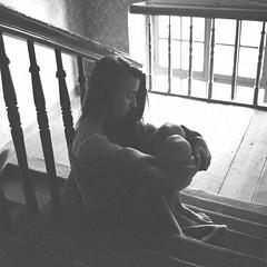 Loneliness.. (JanKazimierz) Tags: light bw woman 6x6 girl analog underwear poland lubitel lodz