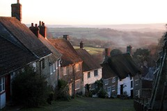 Gold Hill (flambard) Tags: winter sunset england mist english rural countryside december cottage scenic cobbled dorset advert thatch cobbles shaftesbury 2012 hovis goldhill
