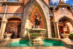 Castle Fountain (grandalloliver) Tags: vacation castle canon orlando florida magic sigma kingdom wideangle disney disneyworld 1020mm hdr themepark magickingdom fantasyland waltdisney topaz sigma1020mm photomatix rebelxsi canonxsi topazadjust grandalloliver grandalloliverphoto