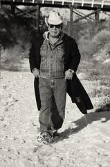 Walking Naturally Towards Me (Lori-B.) Tags: bridge winter snow canada walk britishcolumbia trail jacket firstnations denim cowboyhat penticton confidence kvr stride dresscoat kettlevallyrailway moorescoat