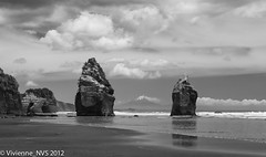 Two out of three (SF knitter) Tags: ocean newzealand beach volcano rocks waves threesisters seaarch seastacks mttaranaki tongaporutu