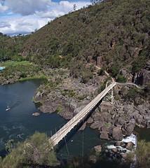Suspension bridge, Cataract Gorge (nisudapi) Tags: bridge panorama river suspension footbridge tasmania gorge suspensionbridge launceston cataract 2012 hugin southesk firstbasin