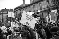 Paris - la manif pour tous (Jack_from_Paris) Tags: street gay portrait bw paris 35mm lens prime nikon noir place protest des demonstration homo monochrom mariage avenue 13 rue pancart