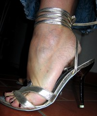 silver ankle strap sandals (al_garcia) Tags: feet high shoes long sandals sweaty clogs heels mules soles smelly toenails toerings
