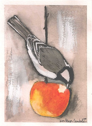 Bird Eating Apple - Original Watercolor