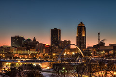 Pastel Skies - Des Moines, IA (w4nd3rl0st (InspiredinDesMoines)) Tags: city blue winter sky urban cold skyline night umbrella canon river evening midwest perfect arch purple outdoor dusk hometown magenta iowa clear 7d cloudless travelers desmoines pedestrianbridge twighlight redumbrella emc 801grand perfectlight 2013 1585 desmoinesisnotboring desmoinesriverwalk bestvantagepoint bestviewofdesmoines