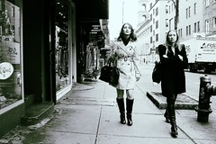 alone together (omoo) Tags: newyorkcity girls bw boots westvillage streetscene sidewalk prettygirls greenwichvillage sogood afterlunch bleeckerstreet blackboots alonetogether bwphotograph dscn3896