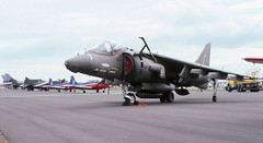 RAF BAE Harrier at the Bournemouth Air Show 1990 (WlNGS) Tags: plane airplane airport aeroporto hampshire aeroplane airshow bae tornado aeropuerto bournemouth raf bia harrier oiltanker aéroport hants jetprovost bournemouthairport petroltanker huntingjetprovost bournemouthairshow1990