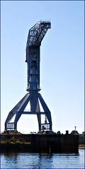 22 - Vers Trentemoult, Vue sur l'le de Nantes, Grue grise (melina1965) Tags: pays de loire loireatlantique nantes juillet july 2016 nikon d80 grue grues crane cranes ciel sky eau water rz trentemoult