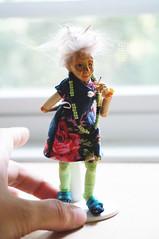 Miniature wooden ball jointed art doll Granny Margarette (MonkEyGstudio) Tags: bjd ooak miniature 1inch scale dollhouse doll artist art grandma granny lady old