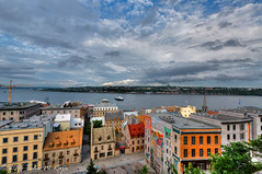 Levis Ferry View, From the Citadel in Quebec City, Canada - Filename: XR6A6243_4_5 - 1/160 sec at f/8.0 ISO 200 (taharaja) Tags: canads levis montreal oldcity quebec quebeccity river colorfulhouses ferry rowhouse villedequbec qubec canada