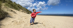 Pointing out to sea panorama - Elliott Waxham beach Norfolk 31/7/2016 (Paul-Green) Tags: waxham beach norfolk coast line panorama pic picture photo photograph cs5 stich canon 7d mk2 mark ii sun sunny day beaches seaside sea play playing flickr photoshop stitched together