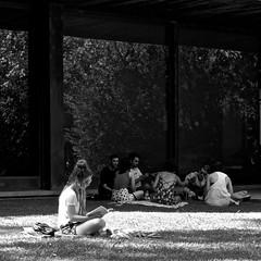 Reading at the garden (pedrosimoes7) Tags: reading lendo lisant reader leitor lecteur book livro livre girlreading candid blackandwhite blackwhite caloustegulbenkiangarden lisbon portugal